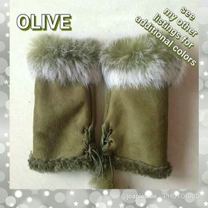 $12 ADD ON - Olive Faux FUR Fingerless Gloves NWT